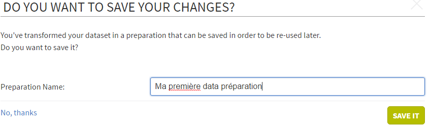 talend data prep save changes