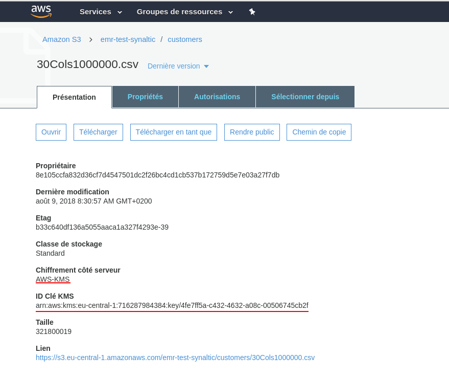 fichier chiffré sur S3 AWS