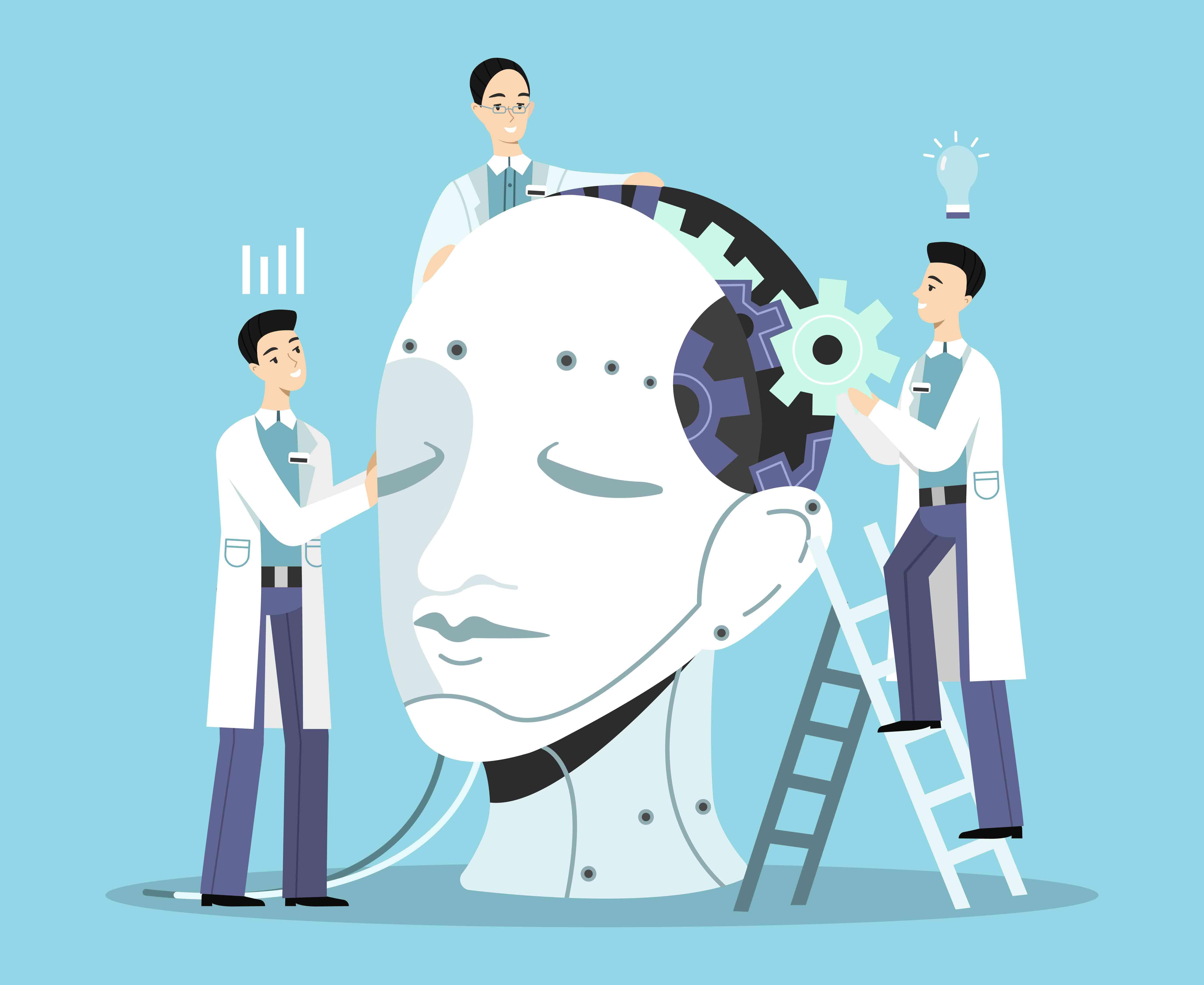 trois scientifiques construisent une intelligence articielle