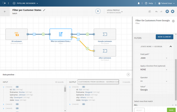 L'interface du pipeline designer de Talend