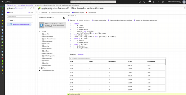 Interface d'Azure Data Warehouse